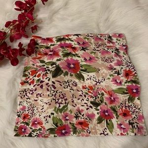 Floral skirt stretch elastic white pink purple